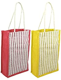 2 Pack Jute Carry Bag Lunch Bag With Reinforced Handles For Return Gift (8x4.5x14 Inch) - Color May Vary