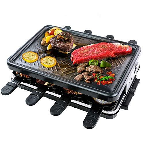 Raclette Grill 8 Personen Antihaft-Beschichtung Tischgrill Elektrisch mit 8 Mini Raclette Pfännchen und 4 Holzspatel Elektrogrill Gesunde Kochmaschine Raklettgerät Grill für Drinnen und Draußen