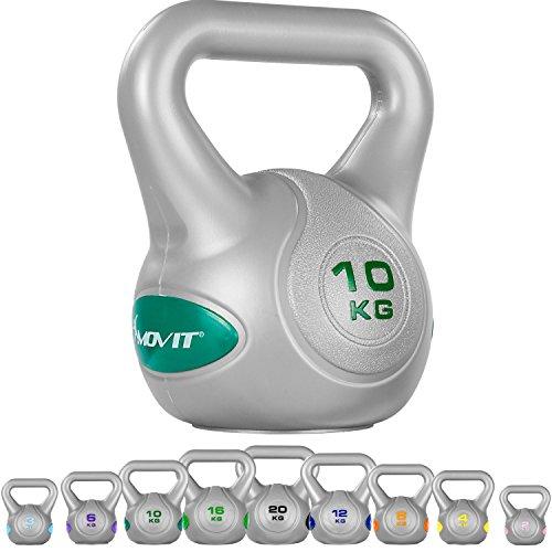 MOVIT Kettlebell mit bodenschonender Kunststoffummantelung Schwunghantel Kugelhantel Kugelgewicht 10 kg petrol
