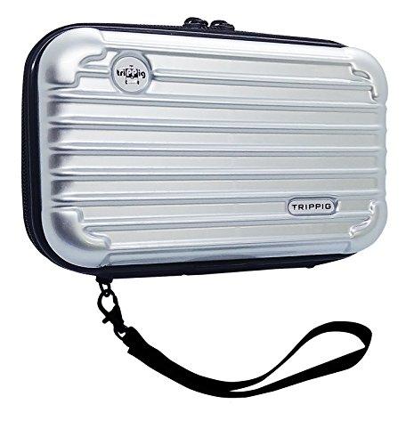 [TRIPPIG] Reisepass Halter / Reisepass Hülle / Reise Clutch Tasche / Kosmetik Organizer / Mini Gepäck Form / Kreditkarten Organizer mit Handschlaufe (silber)
