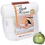 NOCKSTEIN® Luxus Badewannenkissen - Badekissen mit 4 extra großen Saugnäpfen für einen optimalen Halt - Nackenkissen für die Badewanne - extra Haken zum Trocknen | Kissen | Badewannenzubehör