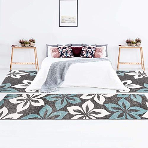 Bettumrandung Teppich-Läufer Flachflor Kurzflor Moda mit Blumen-Muster in Türkis, Schwarz, Grau, Weiß für Schlafzimmer, 3-teilig, Läufer-Größen: 2x 80x150 cm, 1x 80x300 cm