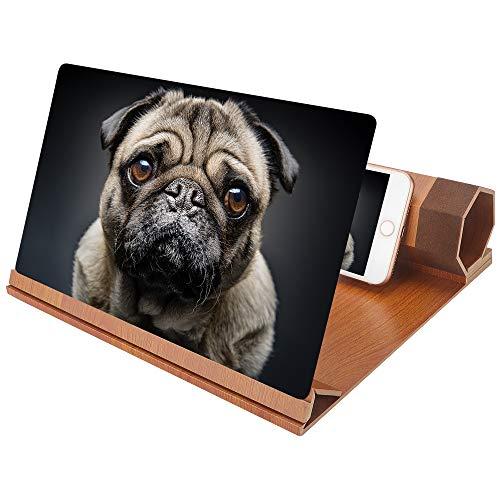 CAVN 3D Handy Bildschirm Lupe, 12' Holz Smartphone Lupe Vergrößerungslupe Telefon Vergrößerer...