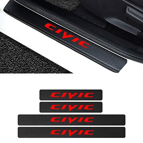 L&U 4 stücke autotürschwellenverschleißplattenschutz kohlefaser Aufkleber für Honda zubehör,Civic