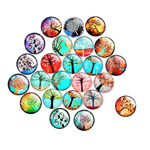 CozofLuv Kühlschrankmagnete aus Glas 3D Magnete für Kühlschrank, Whiteboards, Büro Schränke Magnettafel (Baum des Lebens (24 Stück)) (Kühlschrank-magnete Emoji)