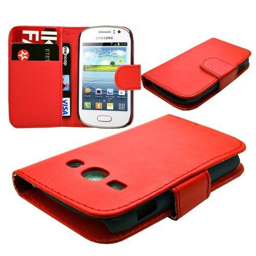 Samsung Galaxy Fame S6810S6810P vari Pattern PU Custodia a portafoglio in pelle/gomma morbida in silicone Gel/Diamond Chrome Custodia Rigida by eFeel Custodia a portafoglio (Rosso)