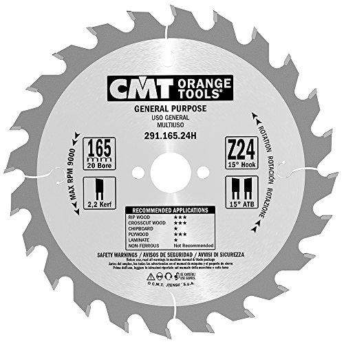 CMT Orange Tools Kreissägeblatt HW 165 x 2,2 / 1,6 x 20 Z=24 15° ATB - 291.165.24H - für Längs- und Querschnitte -