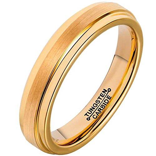 AMDXD Damen Herren Ring Wolfram Stahl (mit Gratis Gravur) Runde 4MM Gold Ehering 50 (En Kostüm Cent 50)