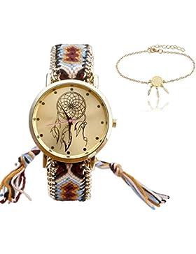 JSDDE Uhren Set, Damen Ethnisch Dreamcatcher Braid Armbanduhr gewebte Band Quarzuhr mit Metall Traumfänger Armband