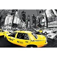 Póster taxis amarillos con efecto ojo de pez AM Times Square–Tamaño 61x 91,5cm–Maxipóster