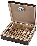 Egoist JK00172 Cave à cigares Humidor Humidificateur avec hygromètre - 20 cigares (Marron)