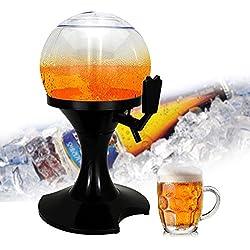 Ice Bière Distributeur de boissons, Umiwe 3.5l d'air froid Globe de table Bière/boissons Distributeur de tour de boisson avec Ice Core pour Home Party Bar à bière Festival Noir