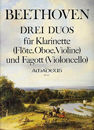 3 DUETTE WOO 27 - arrangiert für Klarinette - (Querflöte/Violine) - Fagott - (Violoncello) [Noten / Sheetmusic] Komponist: BEETHOVEN LUDWIG VAN