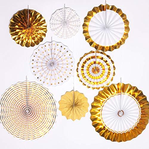 Papierlüfter Satz von 8 Stück gemischte Seidenpapier Fan Herzstück Garland Gewebe Hochzeit Abschluss-Events Party Dekoration (Gold (8) ()