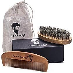 Cepillo para Barba Y Peine para Barba kit de cuidado Para Hombre - Set De Peine De Madera Hecho A Mano Y Cepillo Para Barba De Cerdas Naturales De Jabalí Para Barba de Hombre Y diseño de Bigote