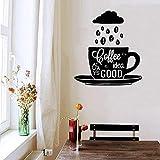 zhuziji Adesivo murale Chicchi di caffè Tazza Adesivi murali in Vinile Creative Cloud Cafe Shop Cucina Rimovibile Logo Morning Home Dic Bianco 57x63cm