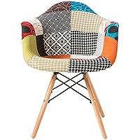 Fauteuil moderne en tissu de Patchwork Eames Style - LIVRAISON GRATUITE - Tapissées pieds en bois de hêtre. Chaise de salle à manger / Chaise de bureau / Chaise de salon