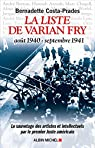 La liste de Varian Fry par Costa-Prades