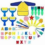 MaoXinTek Cepillos de Pintura de Esponja Herramientas de Dibujo para Niños Pintura Temprana Artes DIY Artesanías Juguete DIY para la Edad 3-6 con Delantal Impermeable (48 Piezas)