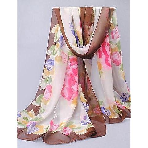 Xoe LE mujeres colorido patrón de flores protector solar chal fino pañuelo de gasa marrón , screen color