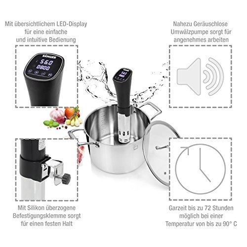 Sänger Premium Sous Vide Stick 800 Watt   Niedrigtemperatur-Garer bis zu 72 Stunden Garzeit einstellbar   Bringen und halten Sie Wasser auf Temperatur zwischen 40 - 90 °C   Mit Befestigungsklammer - 2