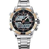 Alienwork Lumi Orologio LED Analogico-Digitale Cronografo LED multi-funzione Acciaio INOX nero argento OS.WH-1104-G