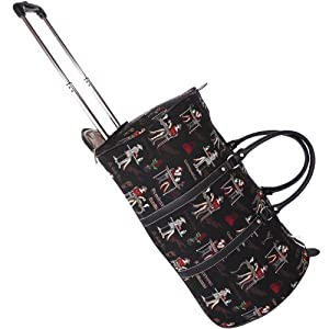 Signare Canvastapestry Wheeled Holdall Cabin Flight Bag Hand Luggage In Black Coffee Tea Or Me Design Design With Free Matching Travel Wallet