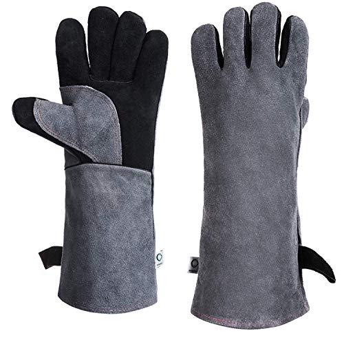 ccbetter Schweißerhandschuhe Leder 16 Zoll Extra Lange Ärmel 932℉ Hitzefeste Grill Handschuhe Leder BBQ Handschuhe Schweißhandschuhe (Schwarz)