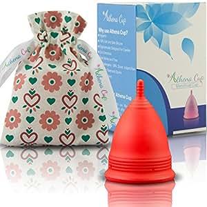 Athena Cup La Coupe Menstruelle La Plus Recommandée Comprend Un Sac Offert - Taille 1, Rouge Mat
