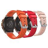 MoKo Armband für Samsung Galaxy Watch 42mm, Silikon Uhrenarmband Erstatzband mit Schließe für Samsung Galaxy Gear S2 Classic/Gear Sport/Ticwatch S/E/2 Watch - Rot & Vintage Rose Pink & Orange