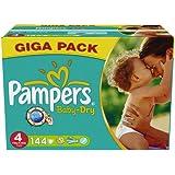 Pampers Baby Dry Windeln, Gr. 4 (7-18 kg), 1er Pack (1 x 144 Stück)