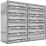 11 er Briefkastenanlage Edelstahl, Premium Briefkasten DIN A4, 11 Fach Postkasten modern Aufputz