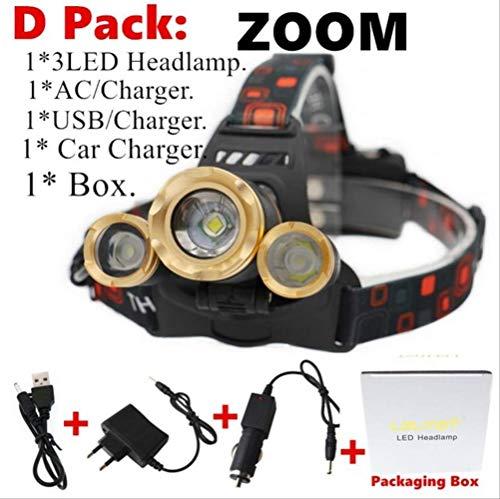 Fzgq Usando Una Lámpara 50000Lm Xm-T6X3 Faros Led Zoom Linterna Antorcha Camping Pesca Farol Linterna Uso 2 * 18650 Batería/AC/Coche/USB/Carga Sin Batería D Embalaje