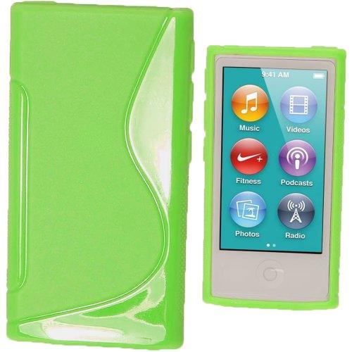 igadgitz Zweiton Grün Dauerhafte Kristall Gel Tasche TPU Hülle Schutzhülle Etui für Apple iPod Nano 7. Gen Generation 7G 16GB + Displayschutzfolie - Ipod Nano 16 3. Gb Generation