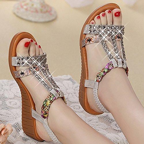 XY&GKKeilabsatz Sandalette Strass mit wasserdichten Plattform, flache Unterseite elastisch'S Band Frauen Sandalen, komfortabel und schön 40 Silver