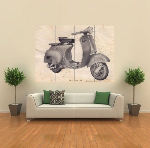 VINTAGE VESPA SCOOTER DRAWING GIANT WALL ART PRINT PICTURE AFICHE CARTEL IMPRIMIR CARTELLO POSTER G1214