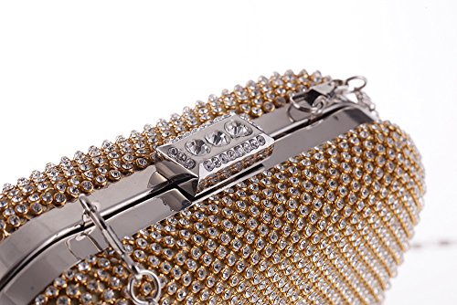 HIDOUYAL Damen Clutches Abendtaschen Handmade Kupplung Umhängetasche mit Kette Gold Gold