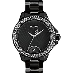 MEDOTA Gratia Women's Studded Automatic Water Resistant Analog Quartz Watch - Black