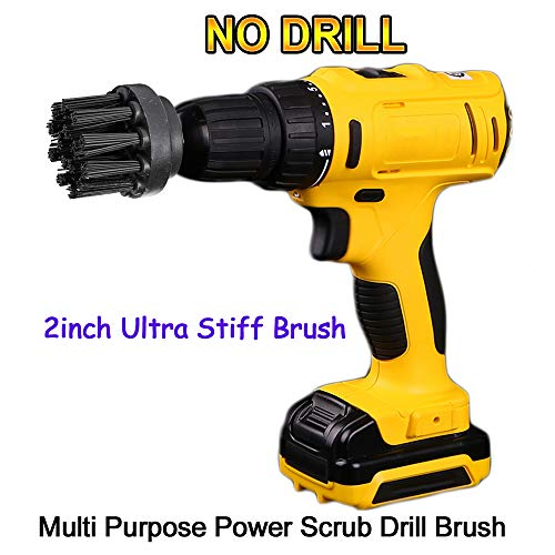 (OxoxO 2inch Ultra Stiff Drill Powered Attachment Brush for Loose Paint Stripping, Rust Removal and Heavy Duty Scrubbing, Graffiti Remover for Stone, Cement, Brick Walls)