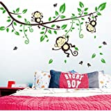 GoldenCart Cute Monkeys Hanging On The Tree Branches To Motivate Your Kids To Hang On Monkey Rails And Grow Height (180 Cm * 100 Cm Finished Size On Wall, Self-Adhesive & Safe, Large Wall Sticker)
