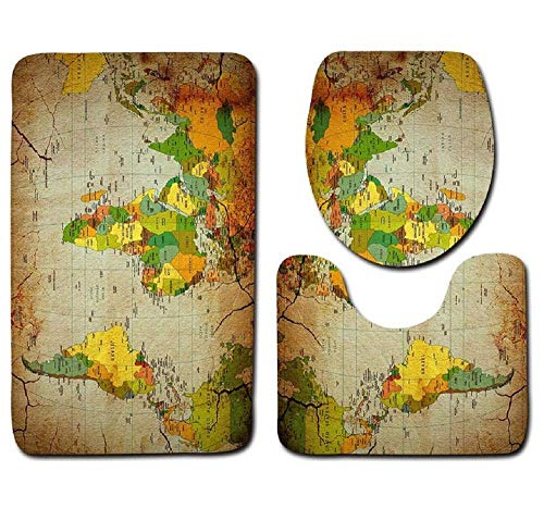 Bad WC Sitzbezug Set, Retro Weltkarte Muster 3 Stück Badteppich Und Matte Set Soft Bath Teppich Contour Teppich Mit Deckel Decken