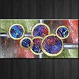 XIAOXINYUAN Große Größe Ölgemälde Kunst Abstrakte Runde Geometrische Leinwand Drucken Poster Malerei Moderne Wandkunst Dekoration 80X160 cm