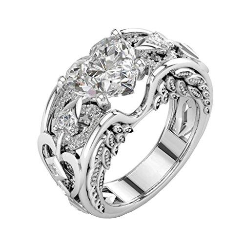 Ausverkauf. Frauen Hochzeit Verlobungsring Braut Ringe Mingfa Fashion Edelsteine Herz Diamant Band Ringe Party Cocktail Schmuck, Legierung, weiß, 8 (Cocktail Ringe Kostüm)