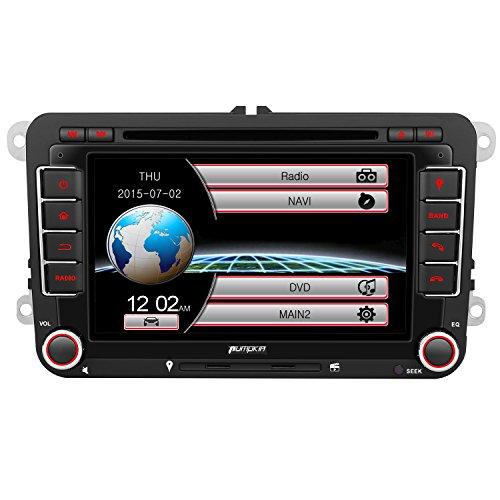 PUMPKIN 2 Din Autoradio DVD Player mit Navigation 7 Zoll Bildschirm für VW Golf Touran Polo Beetle Passat SEAT SKODA unterstützt Bluetooth Freisprecheinrichtung USB CD SD Rückfahrkamera CanBus Lenkrad