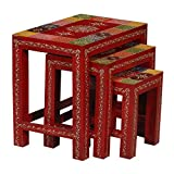 #8: Kamdhenu Art and Craft Handicraft Nesting Tables Stools Set of 3 /Wood Nested Step Stool