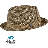 Chillouts Bayamo Hat Gr. S-M [55-57] Pork Pie Hut aus Papierstroh in der Farbe Braun melange