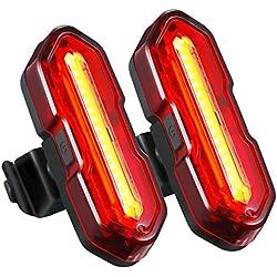 TOPELEK Luz LED Trasera de Bicicleta[2 Paquete] con USB Recargable, Luz Rojo de Advertencia, Luz para Seguridad de Ciclismo, Potente Faro Trasero LED Bici, 5 Modo de Brillo, Impermeable de IPX-44