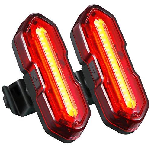 Mpow 【2 Pack】 LED Lumière Arrière pour Vélo Rechargeable Etanche, Feu Arrière Vélo USB,5...