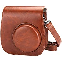Alohallo Mini 8/8 + pelle Immediata Camera PU Borsa Carring per Fujiflim Instax Mini 8 con tracolla e tasca - Brown