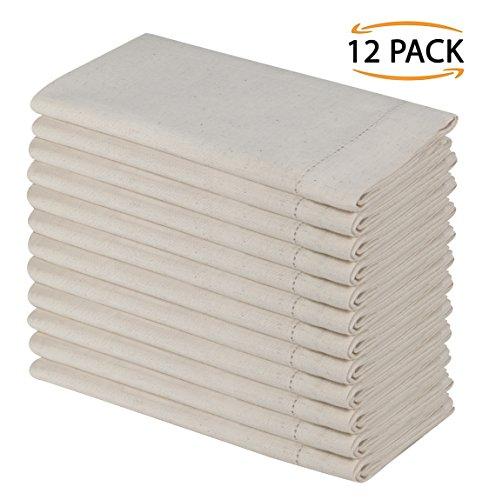 SweetNeedle - Packung mit 12 - Flachs Baumwolle (20% Leinen & 80% Baumwolle) Designer Look Dinner Servietten mit...